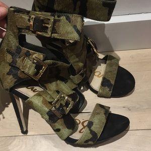 Calf hair camo sandal